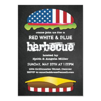 CHURRASCO patriótico do Hamburger Convite 12.7 X 17.78cm