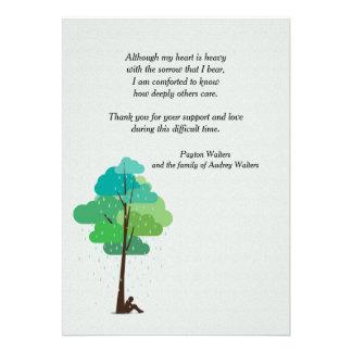Chuva em meus cartões de agradecimentos do convites