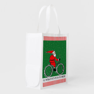 Ciclista do papai noel sacolas reusáveis