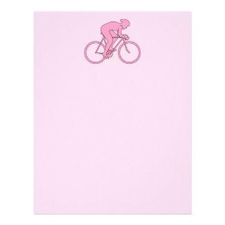 Ciclista no rosa papel de carta personalizados