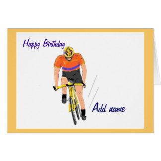 Ciclista que compete o cartão de aniversário. Mude