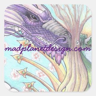 Ciclo do desenho do dragão da vida adesivo quadrado