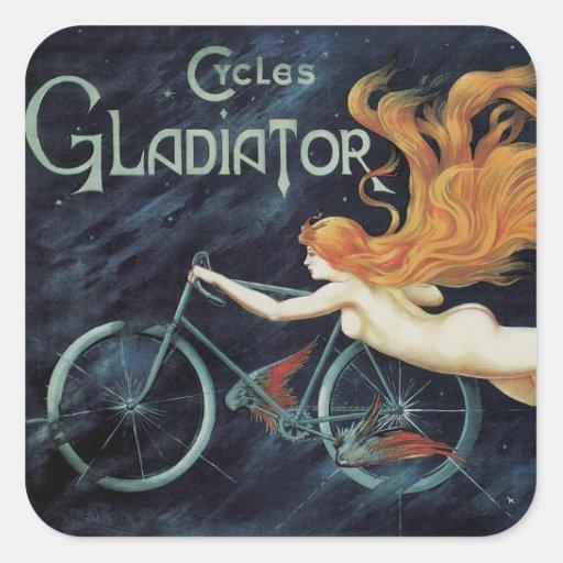 Ciclos do gladiador da mulher do Redhead de Adesivo Em Forma Quadrada
