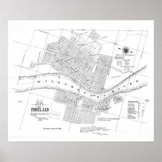 Cidade 1866 poster do mapa de Portland, Oregon