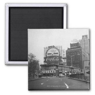 Cidade americana com quadros de avisos comerciais ímã quadrado