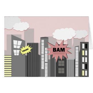 Cidade cor-de-rosa do super-herói cartão comemorativo