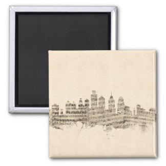 Cidade da partitura da skyline de Philadelphfia Ímã Quadrado