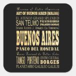 Cidade de Buenos Aires da arte da tipografia de Adesivo Quadrado