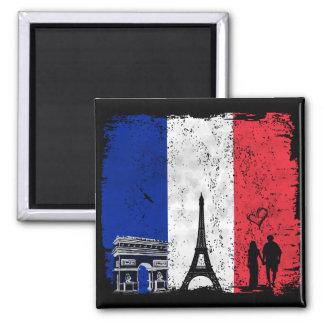 Cidade de Paris do amor Ímã Quadrado