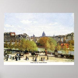 Cidade de Paris por Claude Monet Pôster