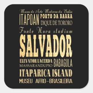 Cidade de Salvador da arte da tipografia de Brasil Adesivo Quadrado