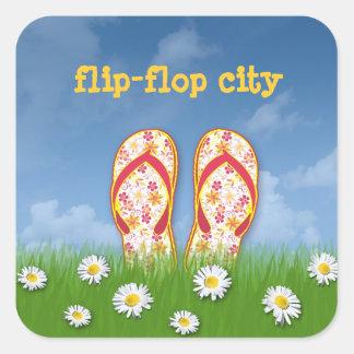 cidade do flip-flop adesivo quadrado