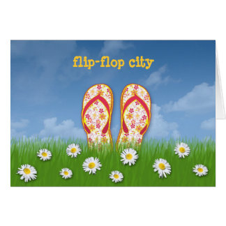 cidade do flip-flop cartão comemorativo