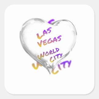 Cidade do mundo de Las Vegas, coração Adesivo Quadrado