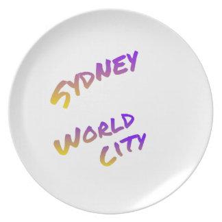 Cidade do mundo de Sydney, arte colorida do texto Prato
