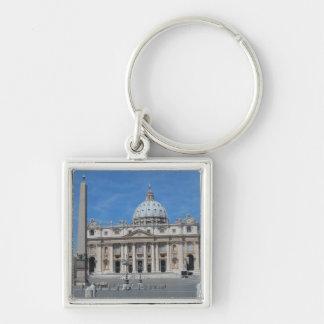 Cidade do Vaticano da basílica de St Peter Chaveiro Quadrado Na Cor Prata