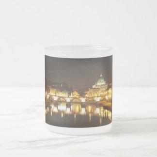Cidade do Vaticano, Roma, Italia na noite Caneca De Café Vidro Jateado
