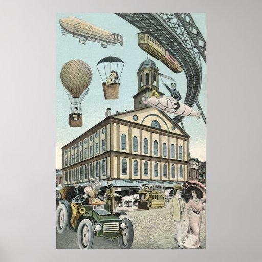 Cidade do Victorian da ficção científica de Steamp Pôsteres