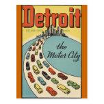 Cidade EUA do motor de Detroit - viagens vintage Cartao Postal