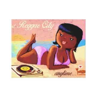 Cidade galão da reggae na praia impressão em tela