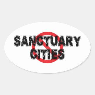 Cidades do santuário da proibição adesivo oval