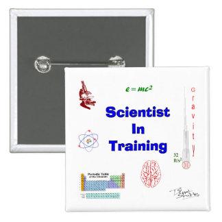 Cientista no treinamento bóton quadrado 5.08cm