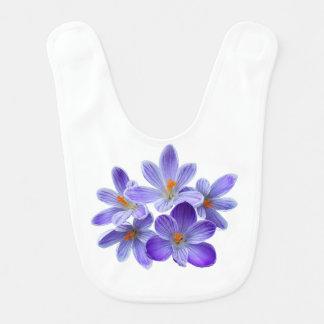 Cinco açafrões violetas 05,0, cumprimentos do babador infantil