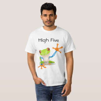Cinco altos alaranjados e camisa engraçada azul do