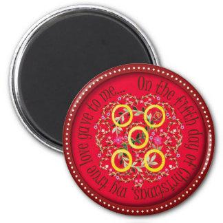 Cinco anéis de ouro ímã redondo 5.08cm