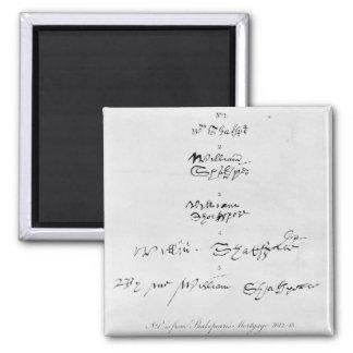 Cinco autógrafos genuínos de William Shakespeare Ímã Quadrado