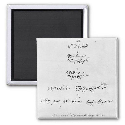 Cinco autógrafos genuínos de William Shakespeare Imas