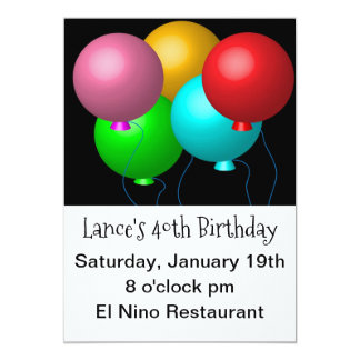 Cinco balões do aniversário convite 12.7 x 17.78cm