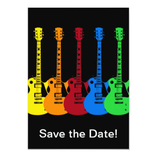 Cinco guitarra elétricas coloridas convite personalizado