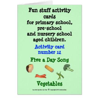Cinco um o dia - os vegetais notam o cartão da