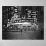 Cinema de Chicago em Noite, 1941 Impressão