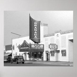 Cinema de Granada, 1938. Foto do vintage Poster
