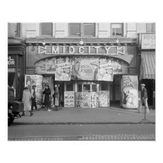 Cinema de Midcity, 1937. Foto do vintage Poster