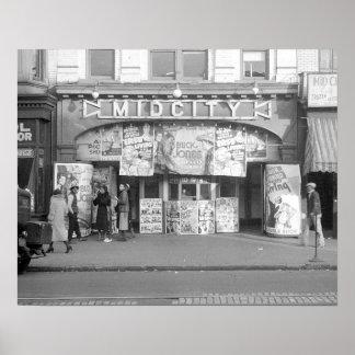 Cinema de Midcity, 1937. Foto do vintage Poster