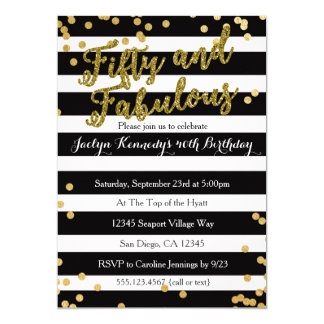 Cinqüênta e convite de aniversário adulto fabuloso