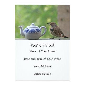 Cintilação e bule convite personalizado