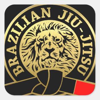 Cinturão negro chapeado ouro de Jiu-Jitsu do Adesivo Quadrado