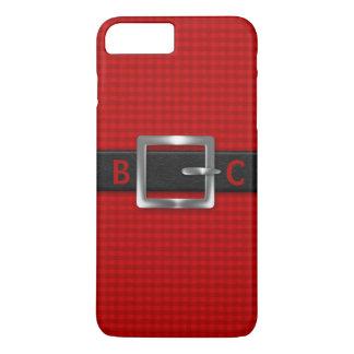 Cinturão negro curvado Monogrammed na xadrez Capa iPhone 7 Plus