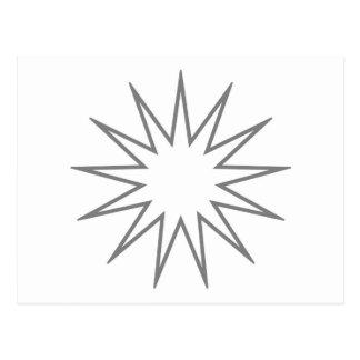 Cinza aguçado da estrela 13 cartao postal
