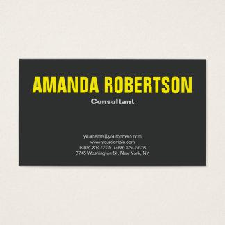 Cinza amarelo liso profissional corajoso cartão de visitas