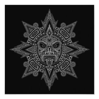 Cinza asteca da máscara de Sun no preto Convite Personalizados