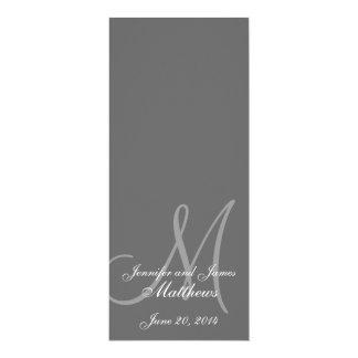 Cinza & branco do monograma do programa da igreja convite 10.16 x 23.49cm