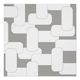 Cinza & branco ligados pôster