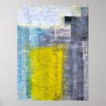 Cinza, cerceta e poster amarelo da arte abstracta