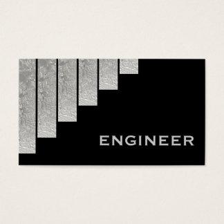 Cinza de prata, engenheiro preto das listras cartão de visitas