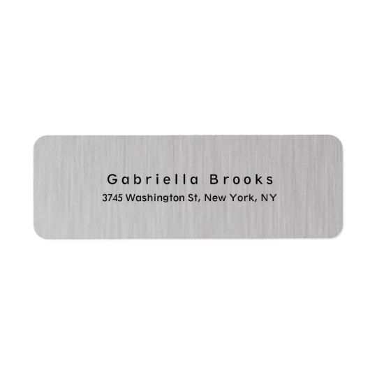 Cinza de prata original elegante liso moderno à etiqueta endereço de retorno